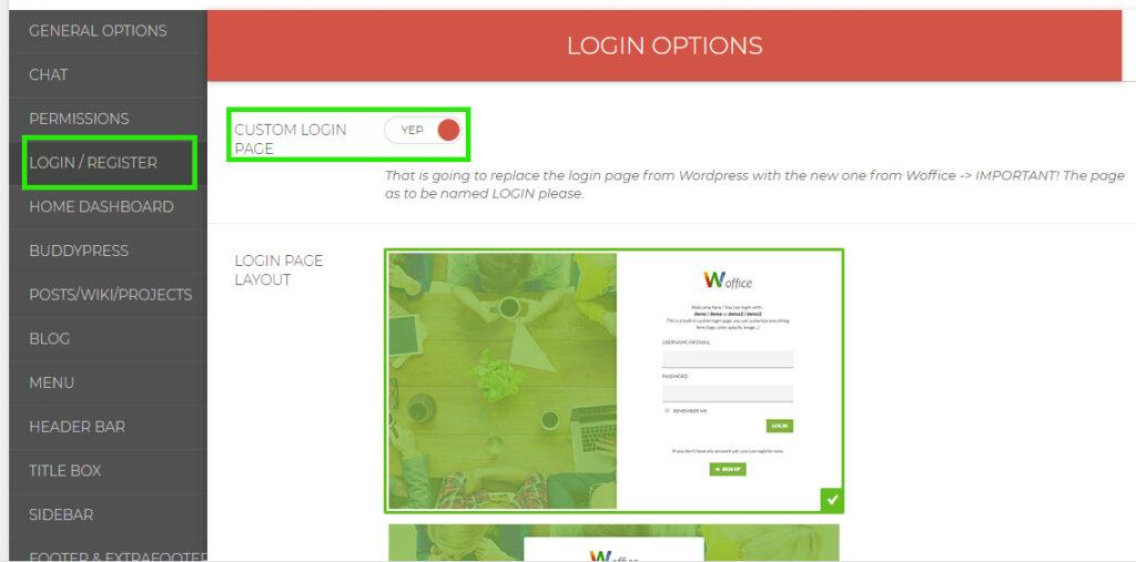 Woffice Login Options